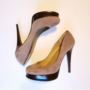 "Levity tan suede 5"" heels with platform"